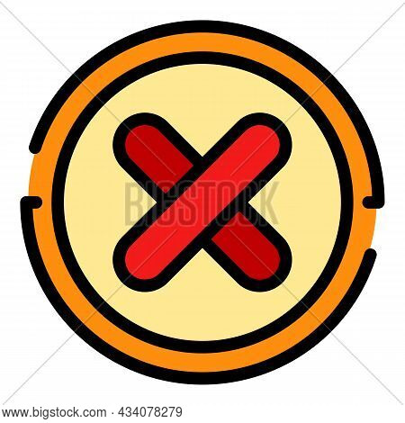Reject Dislike Icon. Outline Reject Dislike Vector Icon Color Flat Isolated