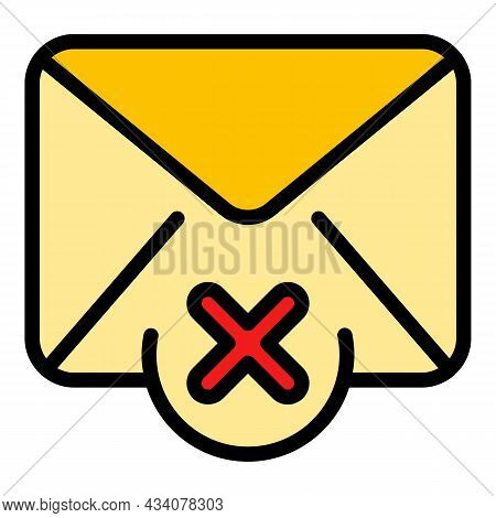 Mail Reject Dislike Icon. Outline Mail Reject Dislike Vector Icon Color Flat Isolated