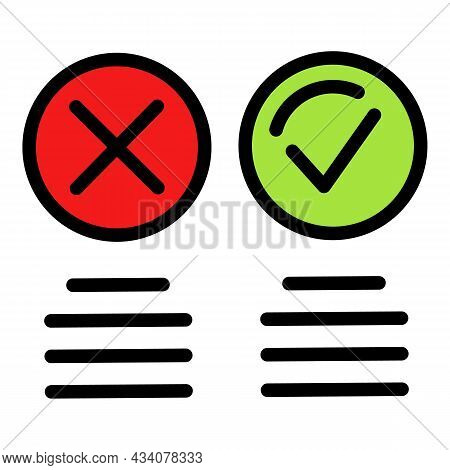 Circle Like And Dislike Icon. Outline Circle Like And Dislike Vector Icon Color Flat Isolated