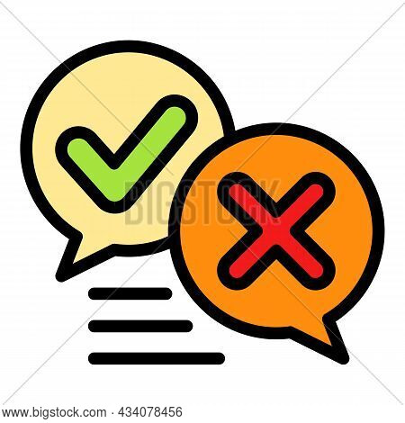 Chat Survey Content Icon. Outline Chat Survey Content Vector Icon Color Flat Isolated