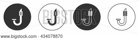 Black Snorkel Icon Isolated On White Background. Diving Underwater Equipment. Circle Button. Vector