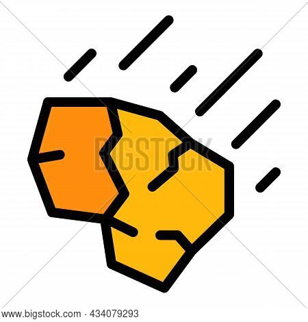 Falling Stone Icon. Outline Falling Stone Vector Icon Color Flat Isolated