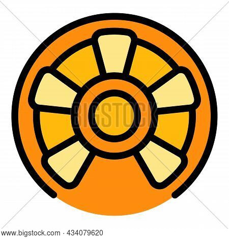 Steel Circular Stairs Icon. Outline Steel Circular Stairs Vector Icon Color Flat Isolated
