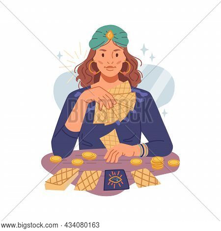 Fortune Teller Woman Guessing On Psychic Tarot Cards Isolated Flat Cartoon Character. Vector Gypsy L
