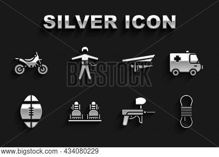 Set Snowboard, Ambulance And Emergency Car, Climber Rope, Paintball Gun, Rugby, Hang Glider, Mountai