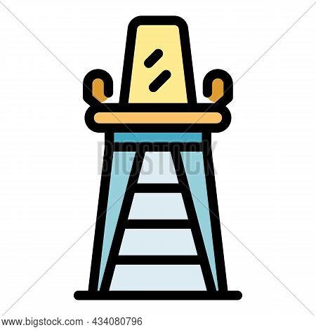 Lifeguard Chair Icon. Outline Lifeguard Chair Vector Icon Color Flat Isolated