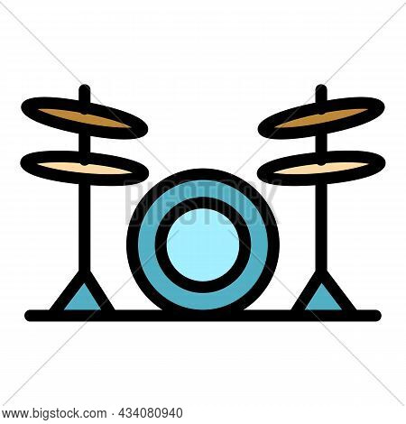 Musical Drums Icon. Outline Musical Drums Vector Icon Color Flat Isolated