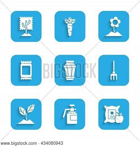 Set Garden Light Lamp, Sprayer For Fertilizer, Apple In The Sack, Rake, Plant, Fertilizer Bag, Flowe