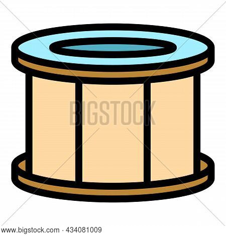 Rock Drum Icon. Outline Rock Drum Vector Icon Color Flat Isolated