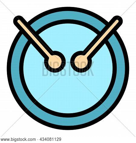 Toy Drum Icon. Outline Toy Drum Vector Icon Color Flat Isolated