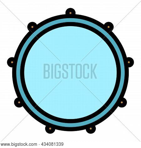 Acoustic Drum Icon. Outline Acoustic Drum Vector Icon Color Flat Isolated