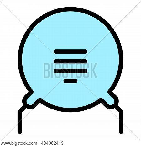 Voltage Resistor Icon. Outline Voltage Resistor Vector Icon Color Flat Isolated
