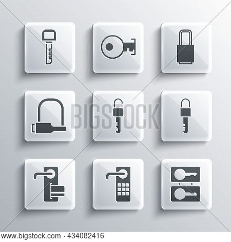 Set Digital Door Lock, Casting Keys, Locked, Unlocked, Bicycle, Key And Icon. Vector