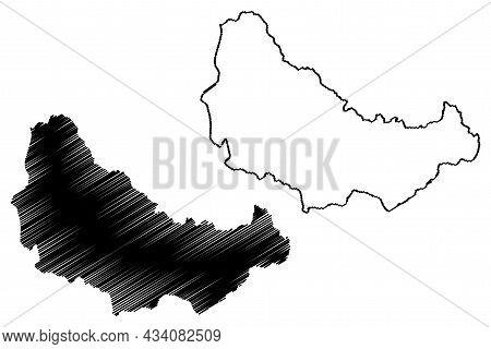 Doda District (jammu And Kashmir Union Territory, Republic Of India) Map Vector Illustration, Scribb