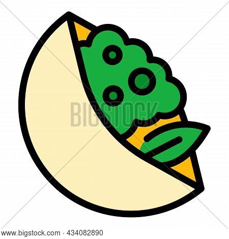 Traditional Pita Bread Icon. Outline Traditional Pita Bread Vector Icon Color Flat Isolated