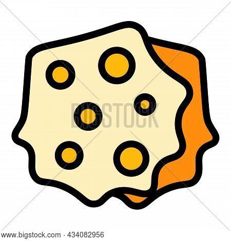 Greek Pita Bread Icon. Outline Greek Pita Bread Vector Icon Color Flat Isolated