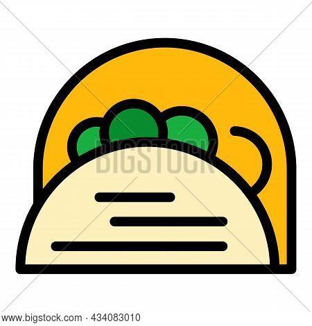 Wheat Pita Bread Icon. Outline Wheat Pita Bread Vector Icon Color Flat Isolated