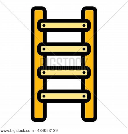 Construction Step Ladder Icon. Outline Construction Step Ladder Vector Icon Color Flat Isolated
