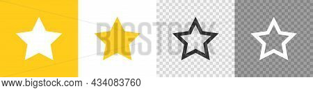 Set Star Icon On Transparent Background. Flat Vector, App And Web Design
