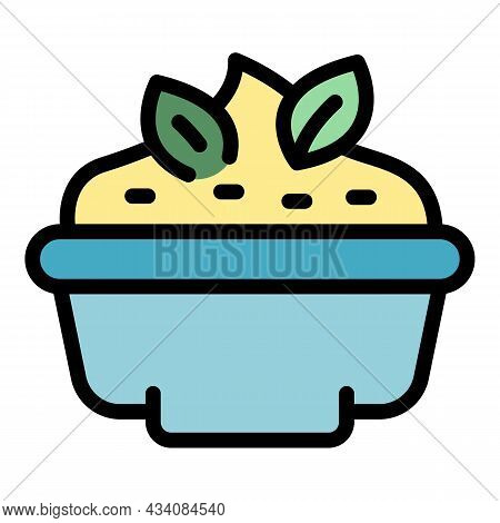 Bowl Mashed Potatoes Icon. Outline Bowl Mashed Potatoes Vector Icon Color Flat Isolated