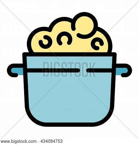 Pot Mashed Potatoes Icon. Outline Pot Mashed Potatoes Vector Icon Color Flat Isolated