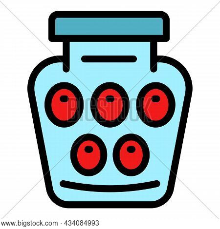 Pickled Fruit Jar Icon. Outline Pickled Fruit Jar Vector Icon Color Flat Isolated