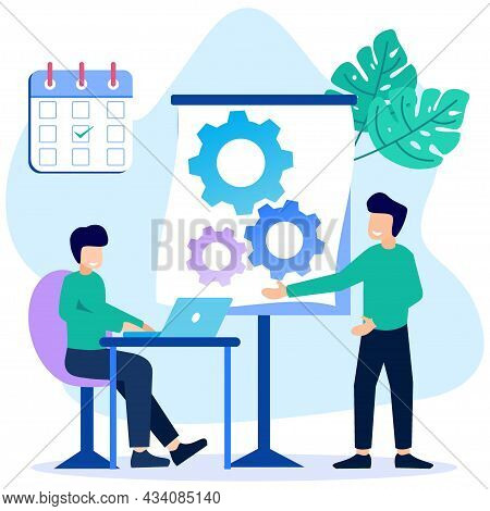 Vector Illustration Of Flat Style Coworker. Independent, Collaborative, Flexible And Freelance Work