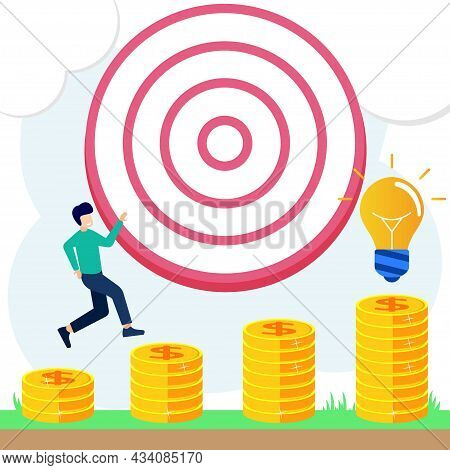 Vector Illustration Of A Business Concept, Detailing Goals With Arcs, Goal Achievement, Business Gro