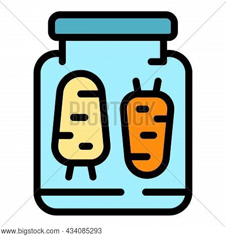 Carrots Preserves Icon. Outline Carrots Preserves Vector Icon Color Flat Isolated