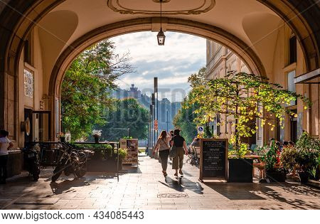 Budapest, Hungary - October 7 2018: The Piarista Koz Passageway In The Centre Of The City, With Bist