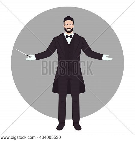 Classical Music, Orchestra Leader. Conductor Person Doing Lead Gesture