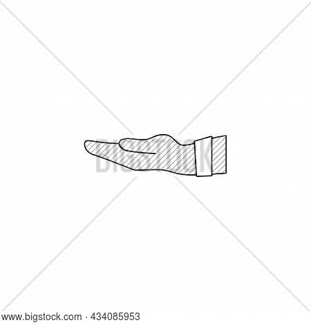 Give Alms, Begging Hand Vector Thin Line Icon. Give Alms, Begging Hand Hand Drawn Thin Line Icon.