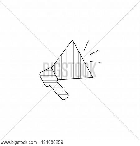 Megaphone Vector Thin Line Icon. Megaphone Hand Drawn Thin Line Icon.