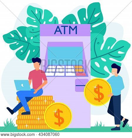 Modern Concept Vector Illustration. Entrepreneurs With Formal Suits Make Money Withdrawals At Atms,