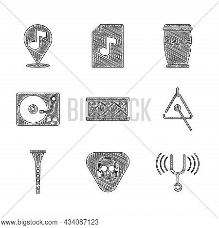 Set Drum, Guitar Pick, Musical Tuning Fork, Triangle, Clarinet, Vinyl Player With Vinyl Disk, And Lo