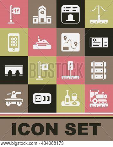 Set Vintage Locomotive, Railway, Railroad Track, Train Ticket, Ticket Office To Buy Tickets, Plate W