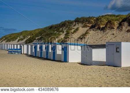 Texel, Netherlands. August 2021. The Beach Houses On The Beach Of The Wadden Island Of Texel.