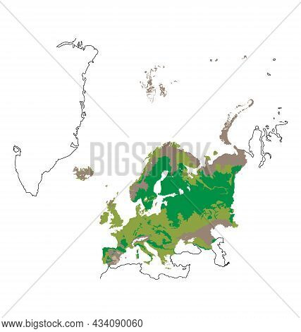 Map Of Europe - Habitat Distribution - Flat Vector Isolated
