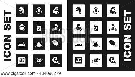 Set Mussel, Sea Cucumber In Jar, Octopus, Jellyfish, Fisherman, Tropical And Served On Plate Icon. V