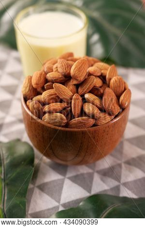 Background Of Big Raw Almonds. Almond Concept With Copyspace.