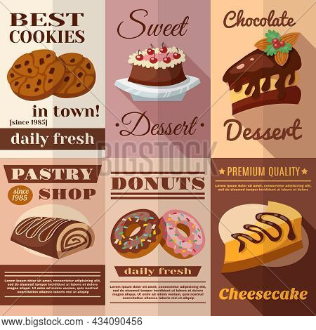 Pastry And Bakery Desserts Mini Poster Set Isolated Vector Illustration