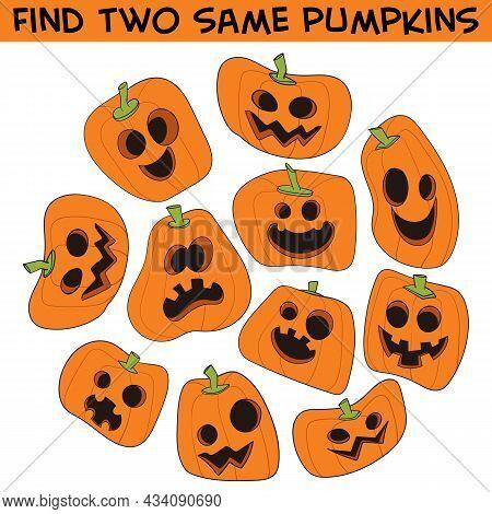 Find Two Same Pumpkins. Halloween Pumpkin. Set. Funny Cartoon Character. Vector Illustration. Isolat