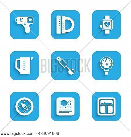 Set Measuring Spoon, Area Measurement, Bathroom Scales, Pressure Water Meter, Compass, Cup, Smart Wa