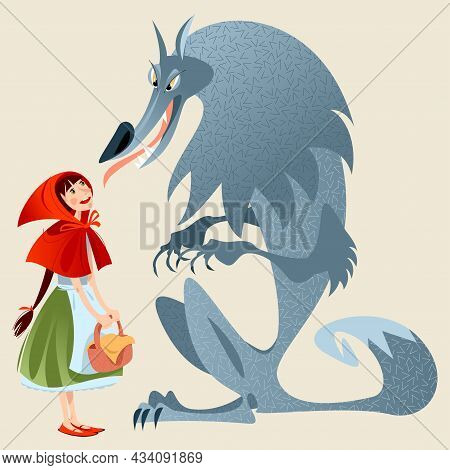 Little Red Riding Hood And Big Bad Wolf. European Folk Tale. Vector Illustration