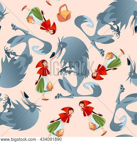 Little Red Riding Hood And Big Bad Wolf. European Folk Tale. Seamless Background Pattern. Vector Ill