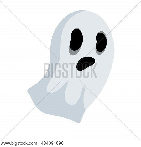Ghost. White Cute Character. Icon Of Death. Flat Cartoon Illustration. Funny Flying Spirit.the Hallo
