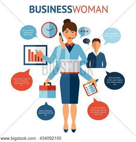 Businesswoman With Many Hands Multitasking Design Concept Flat Vector Illustration