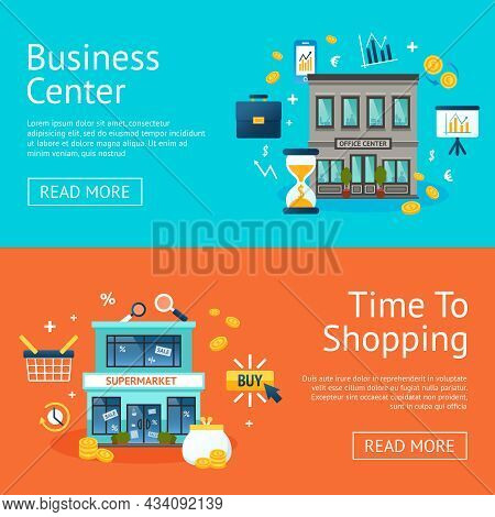 Business Office And Shopping Center Horizontal Banners Set Isolated Vector Illustration