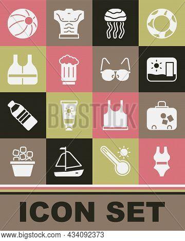 Set Swimsuit, Suitcase, Travel Postcard, Jellyfish, Wooden Beer Mug, Life Jacket, Beach Ball And Gla