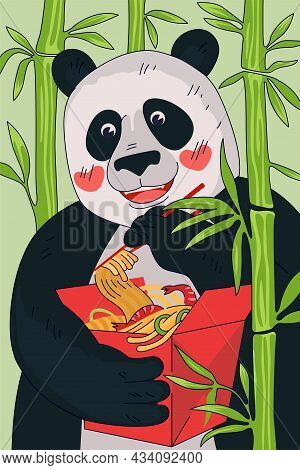 Chinese Cuisine Noodle Box Poster Concept. China Panda Eat With Chopsticks National Meal Wok In Red